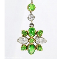 1.40ct Antique Vintage Art Deco Demantoid and Diamond Flower Pendant Necklace Platinum 18k 22k Gold GAL