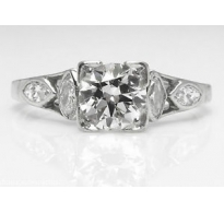1.32ct Antique Vintage Art Deco Old European Diamond Engagement Wedding Platinum Ring EGL USA