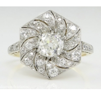 GIA 1.51ct Antique Vintage Old Mine Diamond Cluster Engagement Wedding 14k Yellow Gold Ring