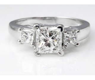 GIA 1.60ct Estate Vintage Princess Diamond Three Stone Engagement Wedding 14k White Gold Ring