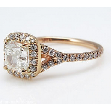 GIA 1.84ct Estate Vintage Cushion Diamond Engagement Wedding 14k Rose Gold Halo Ring