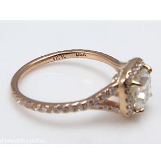 GIA 1.84ct Estate Vintage Cushion Diamond Engagement Wedding 14k Rose Gold Halo Ring