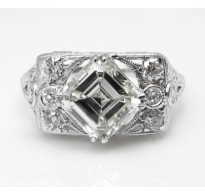 2.04ct Antique Vintage Art Deco Asscher Diamond Engagement Wedding Platinum Ring EGL USA