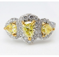 GIA 2.58ct Estate Vintage Yellow Pear Diamond Three Stone Engagement Wedding Platinum Ring