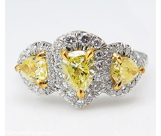 RESERVED... GIA 2.58ct Estate Vintage Yellow Pear Diamond Three Stone Engagement Wedding Platinum Ring