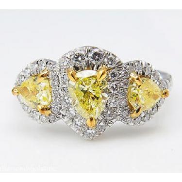 GIA 2.58ct Estate Vintage Yellow Pear Diamond Three Stone Engagement Wedding Platinum Ring
