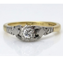 0.16ct Antique Vintage Diamond Solitaire Engagement Wedding 18k Yellow Gold Platinum Ring
