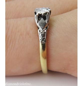 0.16ct Antique Vintage Diamond Solitaire Engagement Wedding 18k Yellow Gold Platinum Ring