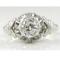 0.38ct Antique Vintage Art Deco Old European Diamond Solitaire Engagement Wedding 18k Yellow Gold Platinum Ring