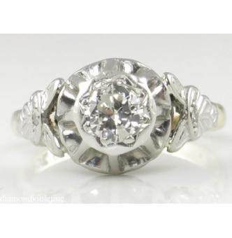 0.38ct Antique Vintage Art Deco Old European Diamond Solitaire Engagement Wedding 18k Yellow Gold Platinum Ring