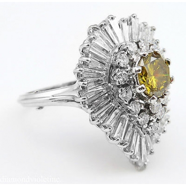 "GIA 4.20ct Estate Vintage Retro CIRCA 1950s Fancy Brownish Yellow Round Diamond ""BALLERINA"" 18k White Gold Ring"