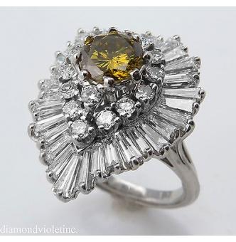 """GIA 4.20ct Estate Vintage Retro CIRCA 1950s Fancy Brownish Yellow Round Diamond """"BALLERINA"""" 18k White Gold Ring"""