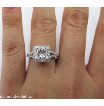 GIA 1.48ct Estate Vintage Princess Diamond Engagement Wedding 18k White Gold Ring E VS1