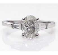 1.65ct Estate Vintage Oval Diamond Solitaire Engagement Wedding Platinum Ring EGL USA