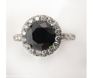 3.00ct Estate Vintage Fancy Black Round Diamond Engagement Wedding 18k White Gold Ring EGL USA