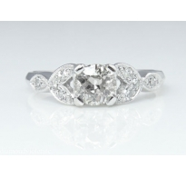 0.61CT Antique Vintage Art Deco CIRCA 1930s Old European Diamond Engagement Wedding Platinum Ring