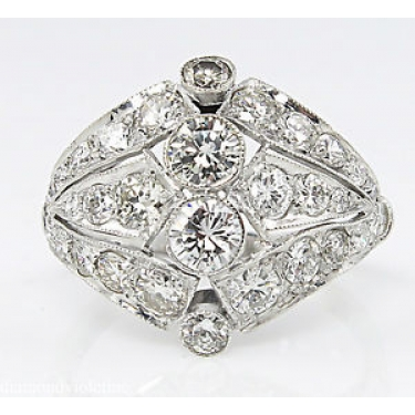 2.89ct Estate Vintage Round Diamond Anniversary Wedding Platinum Ring EGL USA