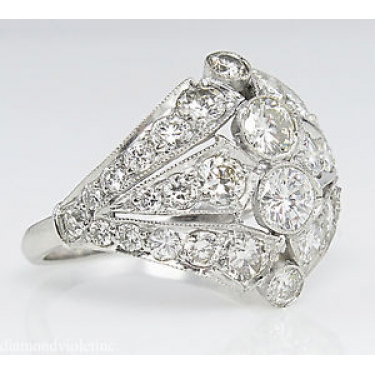 2.89ct Estate Vintage Round Diamond Anniversary Wedding Platinum Ring EGL USA