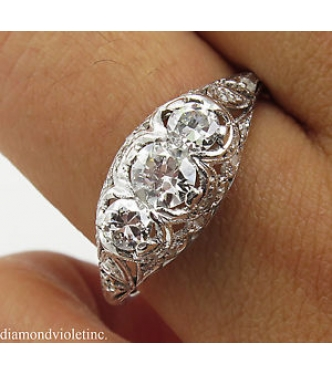 0.86ct Antique Vintage Edwardian Old European Diamond Three Stone Engagement Wedding Platinum Ring EGL USA