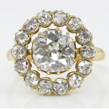 4.64ct Antique Vintage Victorian Old Mine Diamond Cluster Engagement Wedding 18k Yellow Gold Ring EGL USA