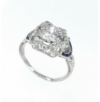 1.71CT Antique Vintage Old Euro Diamond Sapphire Engagement Wedding Platinum Ring EGL USA