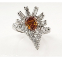GIA 1.81ct Estate Vintage Fancy Orange Pear Diamond Cluster Anniversary 14k White Gold Ring