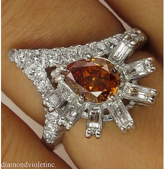 RESERVED... GIA 1.81ct Estate Vintage Fancy Orange Pear Diamond Cluster Anniversary 14k White Gold Ring