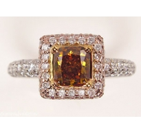 GIA 1.94ct Estate Vintage Fancy Orange Cushion Diamond Engagement Wedding 18k Gold Ring