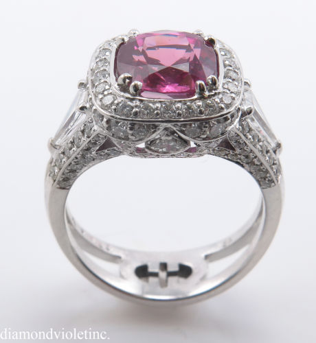 GIA 5 37t Estate Vintage Natural Pink Sapphire Diamond Engagement Wedding 18k