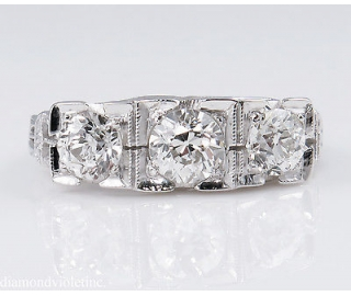 1.40ct Antique Vintage Art Deco Old European Diamond Three Stone Engagement Wedding 14k White Gold Ring