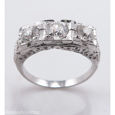 1.40ct Antique Vintage Art Deco Old European Diamond Three Stone Engagement Wedding 14k White Gold Ring