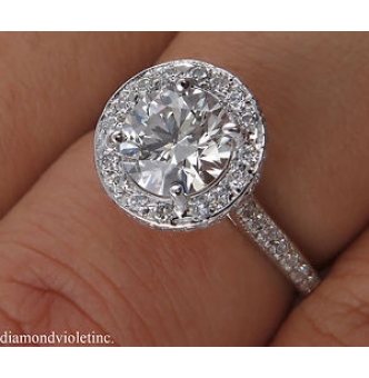 GIA 1.55ct Estate Vintage Round Diamond Halo Engagement Wedding 14k White Gold Ring