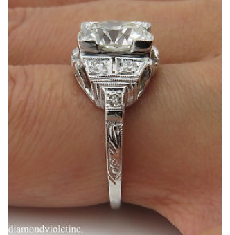 3.07ct Antique Vintage Art Deco Old European Diamond Engagement Wedding Platinum Ring EGL USA