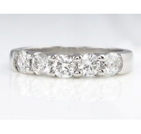 1.00ct Estate Vintage Round Diamond 5 Stone Wedding Band 14k White Gold Ring