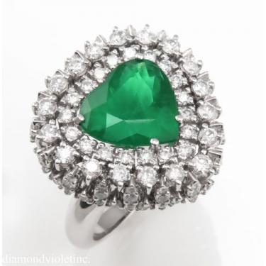 GIA 6.89ct Estate Vintage Brazilian Green Emerald Diamond Ballerina Cluster Platinum Ring