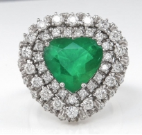 GIA 6.89ct Estate Vintage Brazilian Green Emerald Diamond Ballerina Cluster Platinum Ring