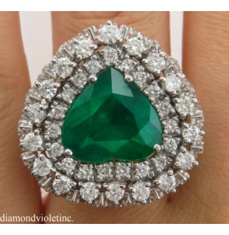 RESERVED... GIA 6.89ct Estate Vintage Brazilian Green Emerald Diamond Ballerina Cluster Platinum Ring