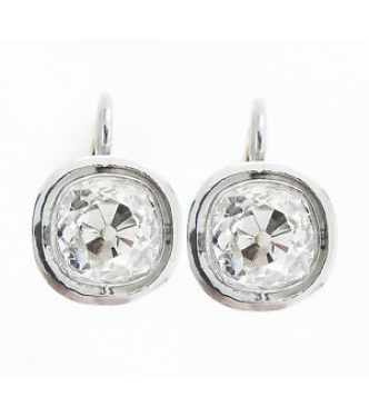 4 73ct Antique Vintage Edwardian Old Mine Diamond Drop Solitaire Earrings Platinum 18k Yellow Gold