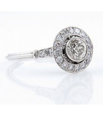 0.76ct Antique Vintage Art Deco Old European Diamond Engagement Wedding Platinum Ring
