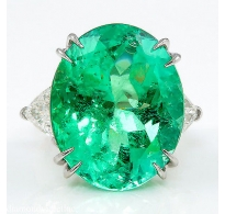 GIA 18.27ct Estate Vintage Colombian Green Emerald Diamond 3 Stone Engagement Wedding Platinum Ring