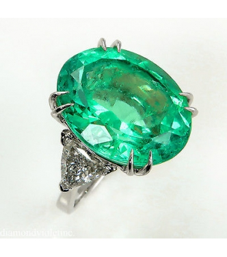 RESERVED .... GIA 18.27ct Estate Vintage Colombian Green Emerald Diamond 3 Stone Engagement Wedding Platinum Ring