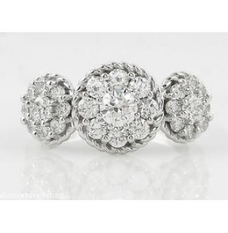1.51ct Estate Vintage Round Diamond 3 Stone Cluster Engagement Wedding 14k White Gold Ring