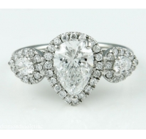 GIA 2.12ct Estate Vintage Pear Diamond Three Stone Engagement Wedding Platinum Ring