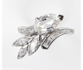 GIA 1.90ct Estate Vintage Old Pear Diamond Fashion Right Hand Platinum Ring