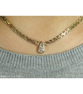 RESERVED .... Shy 1.00ct  Estate Vintage Pear Diamond Pendant Woven Link Necklace in 14k Yellow Gold