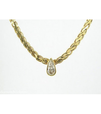 Shy 1.00ct  Estate Vintage Pear Diamond Pendant Woven Link Necklace in 14k Yellow Gold