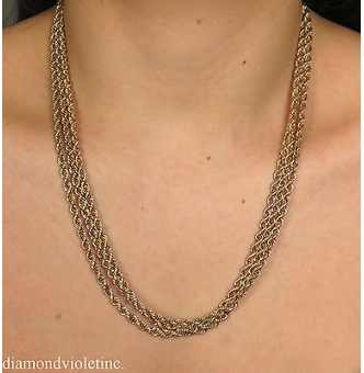 """Authentic TIFFANY&CO Estate Vintage Rope Link Chain Necklace 65"""" in 18k Yellow Gold"""