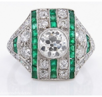 3.31ct Antique Vintage Art Deco Old European Diamond Emerald Wedding Anniversary Platinum Ring EGL USA