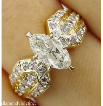 1.72ct Estate Vintage Marquise Diamond Engagement Wedding 14k Yellow Gold Ring EGL USA