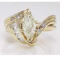 1.27ct Estate Vintage Marquise Diamond Engagement Wedding 14k Yellow Gold Ring EGL USA